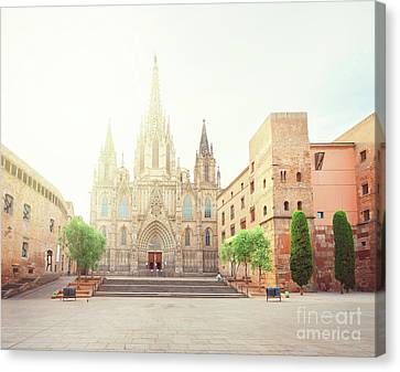 Gotic Cathedral  Of Barcelona Canvas Print