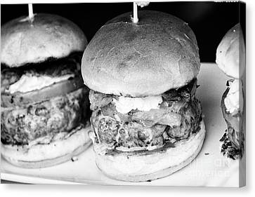 Gourmet Burgers On Display Canvas Print
