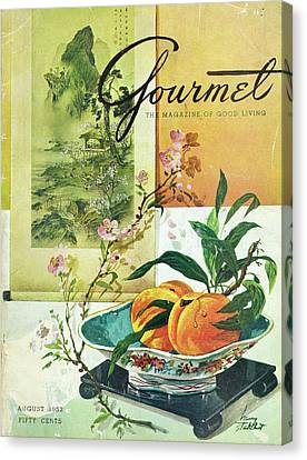 Gourmet Cover Featuring A Bowl Of Peaches Canvas Print by Henry Stahlhut