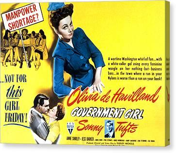 Government Girl, Olivia De Havilland Canvas Print
