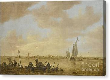 Goyen An Estuary Scene With Fisherman  Canvas Print by MotionAge Designs