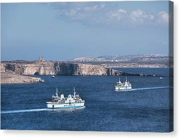 Blau Canvas Print - Gozo Ferries - Malta by Joana Kruse