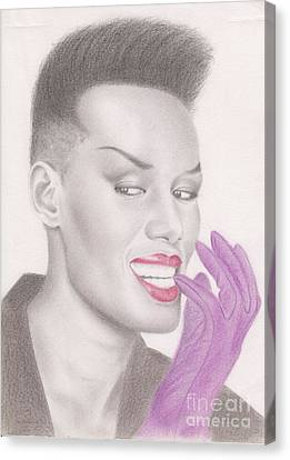 Canvas Print featuring the drawing Grace Jones by Eliza Lo
