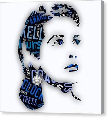 Grace Kelly Canvas Print - Grace Kelly Movies In Words by Marvin Blaine