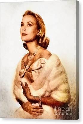 Grace Kelly Canvas Print - Grace Kelly, Vintage Actress By John Springfield by John Springfield