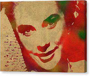Grace Kelly Watercolor Portrait Canvas Print by Design Turnpike