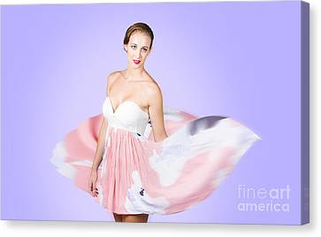 Graceful Dreamy Dancing Girl In Pink Dress Canvas Print by Jorgo Photography - Wall Art Gallery