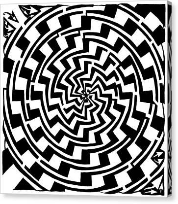 Gradient Tunnel Spin Maze Canvas Print by Yonatan Frimer Maze Artist