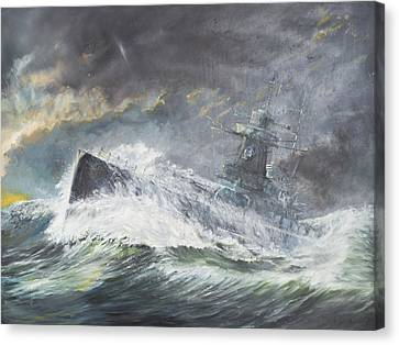 Graf Spee Enters The Indian Ocean Canvas Print by Vincent Alexander Booth