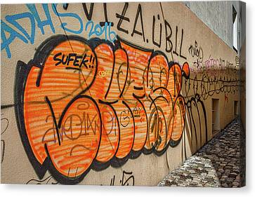 Canvas Print featuring the photograph Graffiti In The Alley #2 - Slovenia by Stuart Litoff