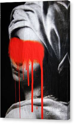 Graffiti On A Poster Krakow Poland Canvas Print