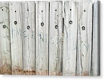 Graffiti On Wood Canvas Print