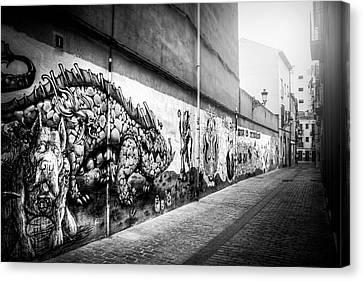 Greyscale Canvas Print - Graffiti Street Valencia Spain In Black And White  by Carol Japp