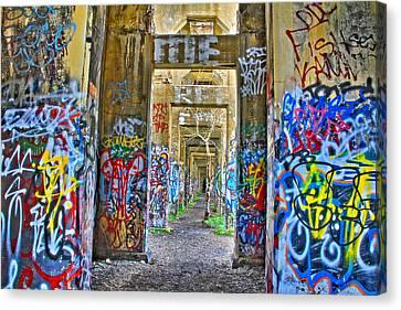 Grafiti Bridge To Nowhere Canvas Print by Alice Gipson