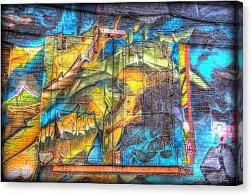 Grafiti Window Canvas Print by Michaela Preston