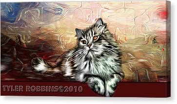Canvas Print featuring the painting Grafitti Kitty by Tyler Robbins