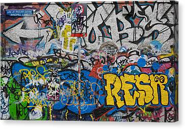 Grafitti On The U2 Wall, Windmill Lane Canvas Print by Panoramic Images