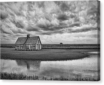 Grain Barn And Sky - Reflection Canvas Print