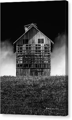 Wooden Platform Canvas Print - Grain Dryer Bw by Marvin Spates