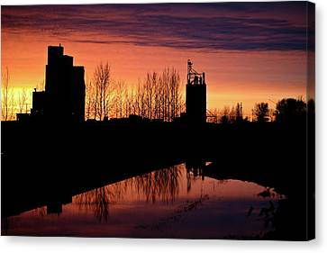 Grain Elevator Reflection Sunset Canvas Print by Mark Duffy