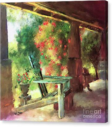 Red Roof Canvas Print - Gramma's Front Porch by Lois Bryan