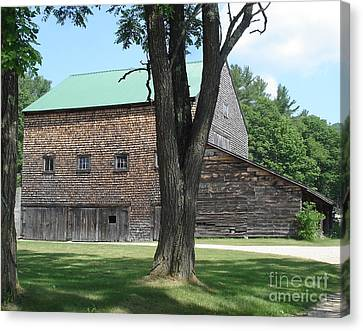 Grammie's Barn Through The Trees Canvas Print by Kerri Mortenson