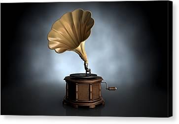 Gramophone Dark Background Canvas Print