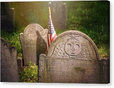Headstones Canvas Print - Granary Burying Ground Boston  by Carol Japp