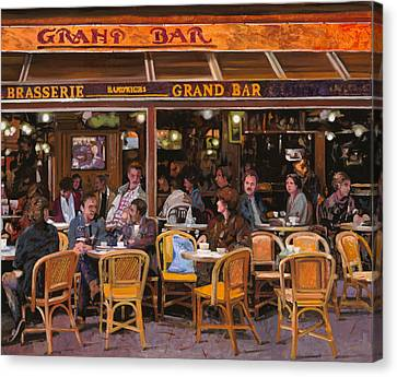 Wine Scene Canvas Print - Grand Bar by Guido Borelli