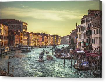 Grand Canal As The Sun Is Setting Canvas Print by Chris Fletcher