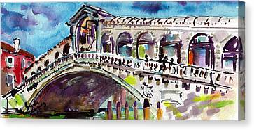 Grand Canal Rialto Bridge Canvas Print by Ginette Callaway