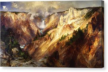 Great Falls Park Canvas Print - Grand Canyon Of The Yellowstone by Thomas Moran