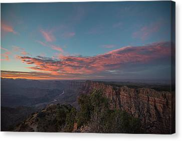 Canvas Print featuring the photograph Grand Canyon Sunset 1943 by David Haskett