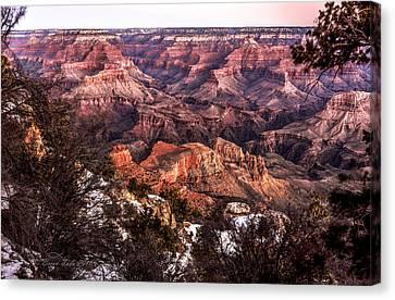 Grand Canyon Winter Sunrise Landscape At Yaki Point Canvas Print by Brian Tada