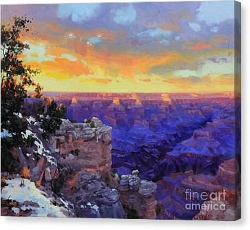 Grand Canyon Winter Sunset Canvas Print by Gary Kim
