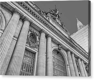 Grand Central Terminal - Chrysler Building Bw Canvas Print by Susan Candelario