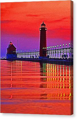 Grand Haven Lighthouse Canvas Print by Dennis Cox