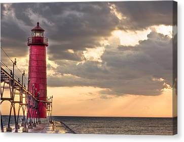 Grand Haven Lighthouse Hdr Canvas Print by Jeramie Curtice