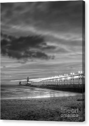 Grand Haven Pier In Black And White Canvas Print by Twenty Two North Photography
