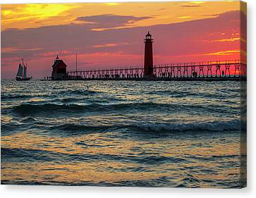 Grand Haven Pier Sail Canvas Print by Pat Cook