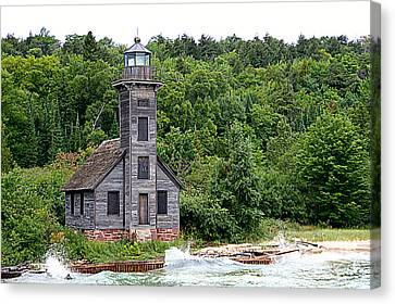 Grand Island East Channel Lighthouse #6680 Canvas Print by Mark J Seefeldt