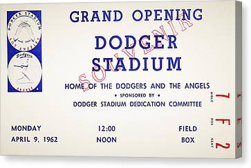 Grand Opening Dodger Stadium Ticket Stub 1962 Canvas Print by Bill Cannon