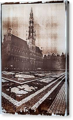 Grand Place Brussels Gum Bichromate Canvas Print by Guido Montanes Castillo