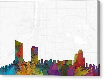 Grand Rapids Cityscape And Streetmap Skyline Canvas Print by Jurq Studio