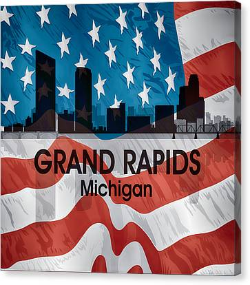 Grand Rapids Mi American Flag Squared Canvas Print