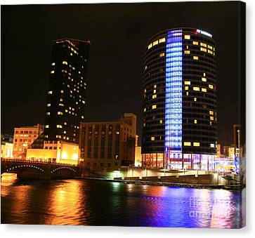 Grand Rapids Mi Under The Lights-4 Canvas Print by Robert Pearson