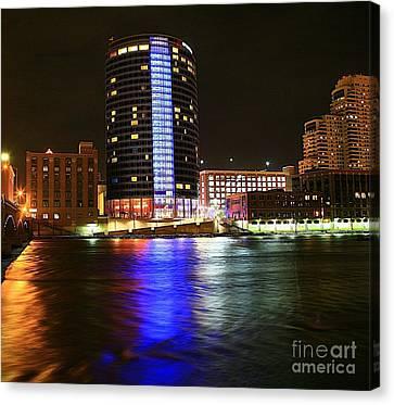 Grand Rapids Mi Under The Lights-6 Canvas Print by Robert Pearson
