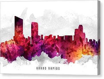 Grand Rapids Michigan Cityscape 14 Canvas Print by Aged Pixel