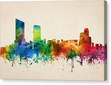 Grand Rapids Michigan Skyline 05 Canvas Print by Aged Pixel