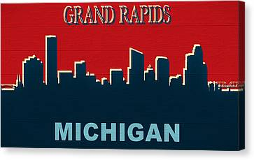 Grand Rapids Michigan Skyline Rustic Canvas Print
